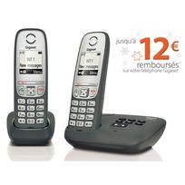 GIGASET - Téléphone fixe sans fil avec répondeur - AS435 A - Duo Noir