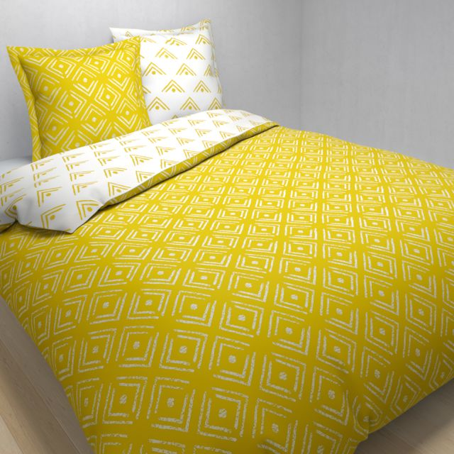 tex home parure enya housse de couette 2 taies d 39 oreiller en coton jaune clair pas cher. Black Bedroom Furniture Sets. Home Design Ideas
