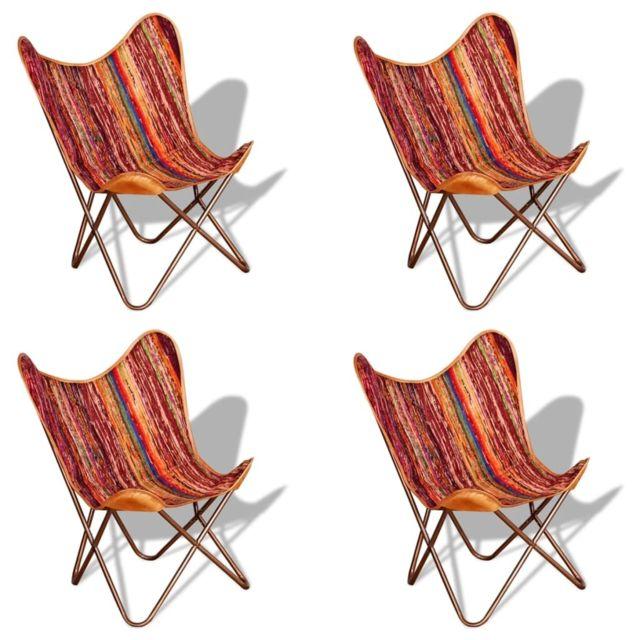 Superbe Fauteuils et chaises categorie Oslo Chaises papillon 4 pcs Multicolore Tissu chindi
