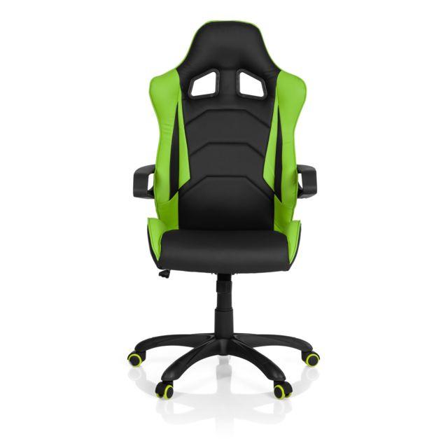 Hjh Office Chaise Gaming / Chaise de bureau Racer Pro I simili cuir noir/vert