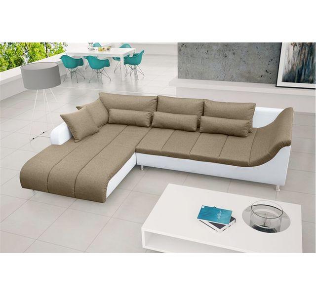 CHLOE DESIGN Canapé d'angle BIAGIO - Angle gauche - Or/Blanc