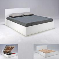 marque generique lit coffre en htre avec tte de lit et sommier latte multiplis - Tete De Lit Rangement