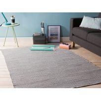 Kaligrafik - Tapis en plastique tissé main rendu coton larges carrés bicolores gris blanc Navya - 200x290cm