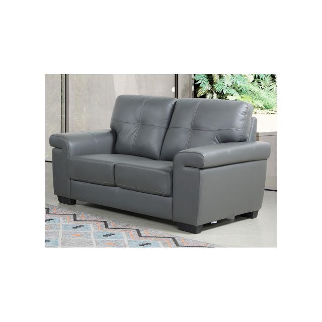 Canapé 2 places en cuir HAZEL - Gris