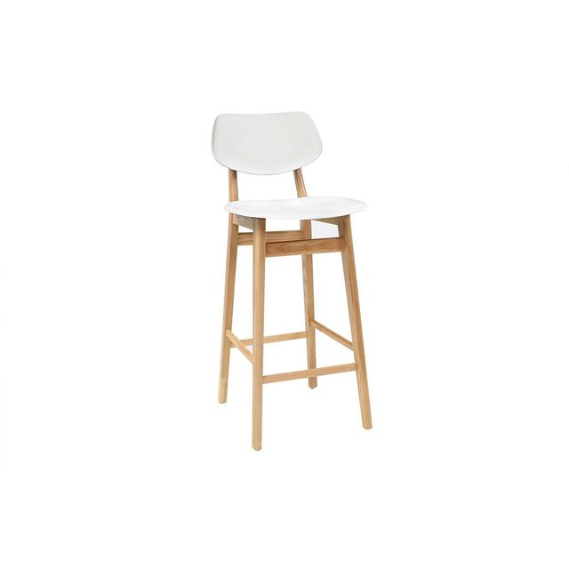 miliboo tabouret chaise de bar design blanc et bois. Black Bedroom Furniture Sets. Home Design Ideas