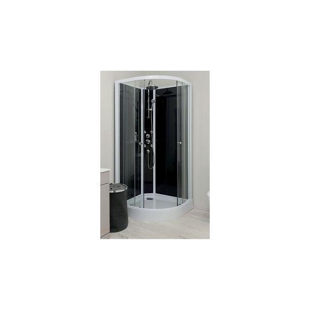 Aqua   - Cabine de douche Hydro Gena grise, sans silicone - 90 cm ...