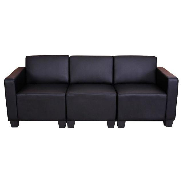 Mendler Canapé 3 places lounge/salon Lyon, système modulaire, simili-cuir, noir