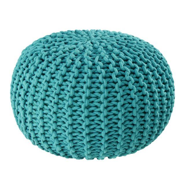 carrefour home pouf en cordes bleu canard pas cher achat vente poufs rueducommerce. Black Bedroom Furniture Sets. Home Design Ideas