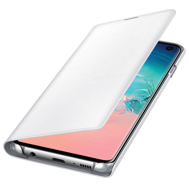 Housse Galaxy S10 Étui Portefeuille Led Porte carte View Cover Original Blanc