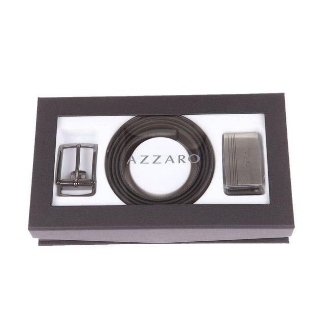 Azzaro - Coffret cadeau Made in France   Ceinture ajustable noire  réversible marron à boucles classique et boucle pleine argentée Taille  unique - pas cher ... 5859898f890