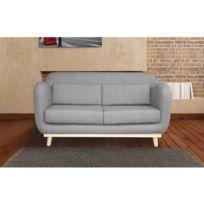 Autre - Canapé 2 places fixes pieds bois en tissu - coloris gris