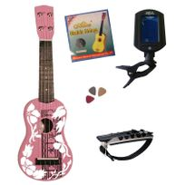Msa - Pack Ukulele Soprano Rose Accordeur Electronique 4 Accessoires