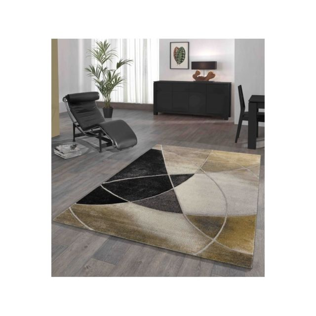 Tapis de salon moderne à carreaux - Diamond Deluxe - Gris et or - 80 X 150  cm