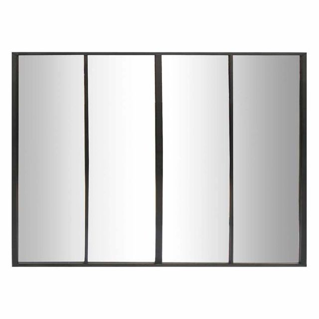 Emde - Miroir en métal 4 bandes 120x90cm Frank - Noir 0cm x 0cm