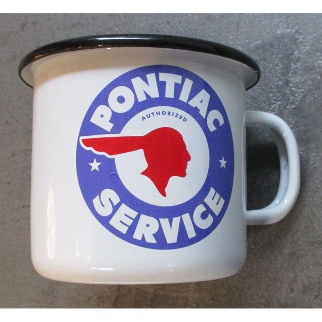 Universel Mug pontiac service en email tasse à café emaillée logo bleu