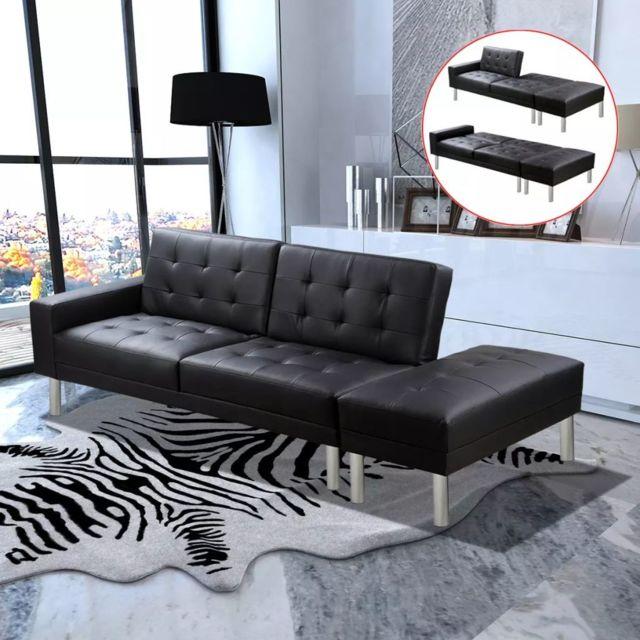 Moderne Meubles gamme Tallinn Canapé-lit Cuir artificiel Noir