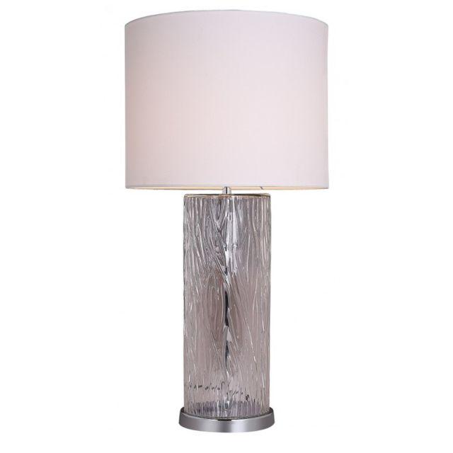 Lampe A Poser En Verre Design Et Abat Jour Beige Style Classique Moderne Lisa