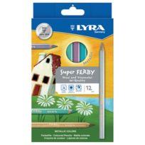 Lyra - crayon de couleur triangulaire metallic - boite de 12