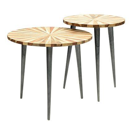 Ensemble de 2 tables en bois à rayures et pieds acier