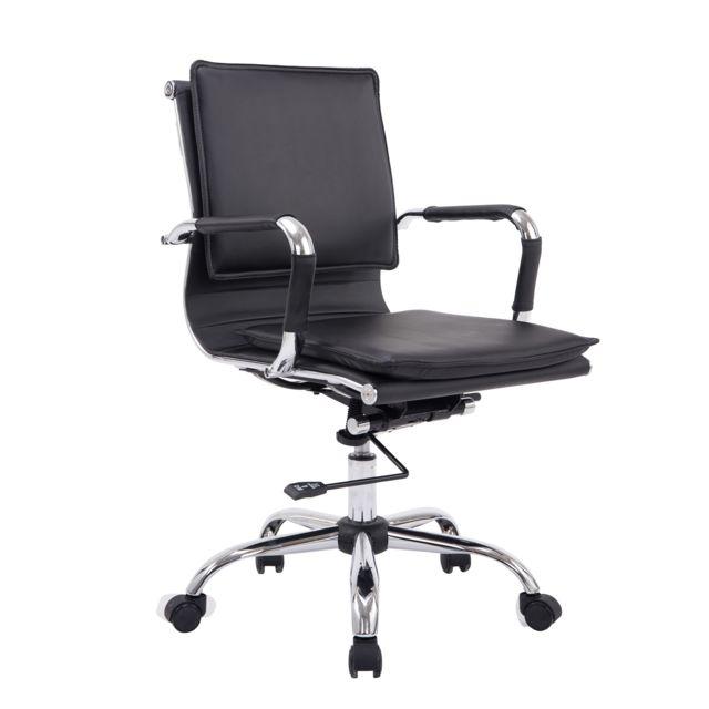 homcom chaise de bureau pivotante ergonomique hauteur r glable design contemporain m tal. Black Bedroom Furniture Sets. Home Design Ideas