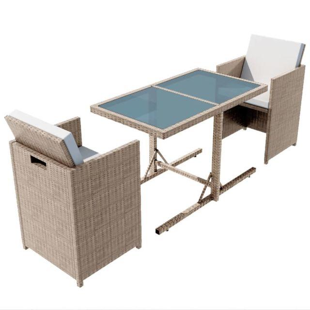 Icaverne - Ensembles de meubles d'extérieur ensemble Ensemble de mobilier de jardin 7 pcs Poly Rotin Gris/Beige