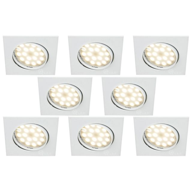 Lampesecoenergie Lot De 8 Spot Encastrable Orientable Led Carre Gu10 230V eq. 50W Blanc Neutre