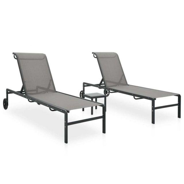 Vidaxl Chaises longues 2 pcs avec table Textilène et acier