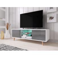Vivaldi - Sweden Meuble Tv style scandinave blanc mat avec gris brillant. Eclairage à la Led bleue