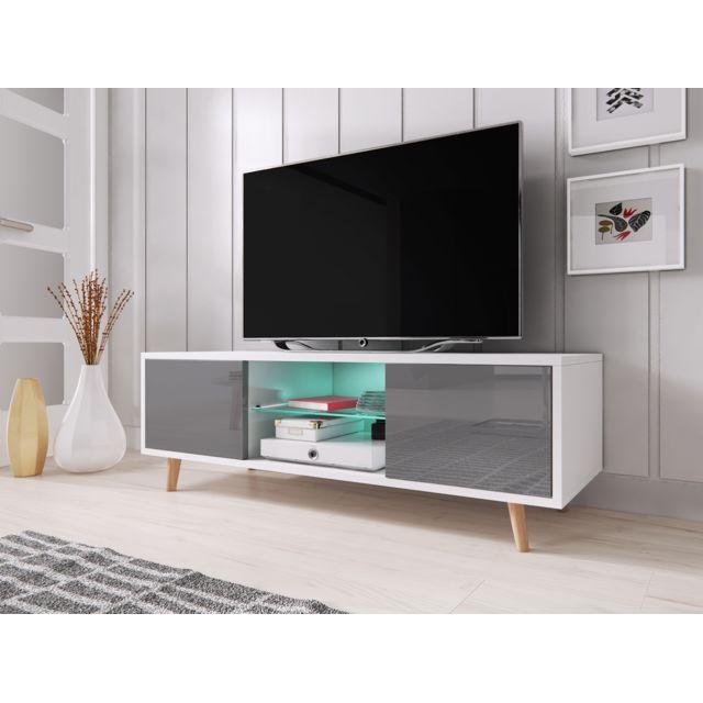 Vivaldi Sweden Meuble Tv Style Scandinave Blanc Mat Avec Gris