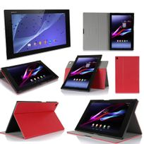 Xeptio - Sony Xperia Z2 Tablet - Housse protection Ultra Slim Cuir Style rouge - Etui coque