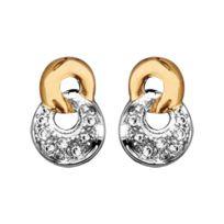 1001BIJOUX - Boucles d'oreille tige bicolore double anneaux entremelés pierres blanches