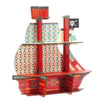 Little Big Room - Etagère murale en bois forme bateau pirate imprimé géométrique 52x54x14cm Marin