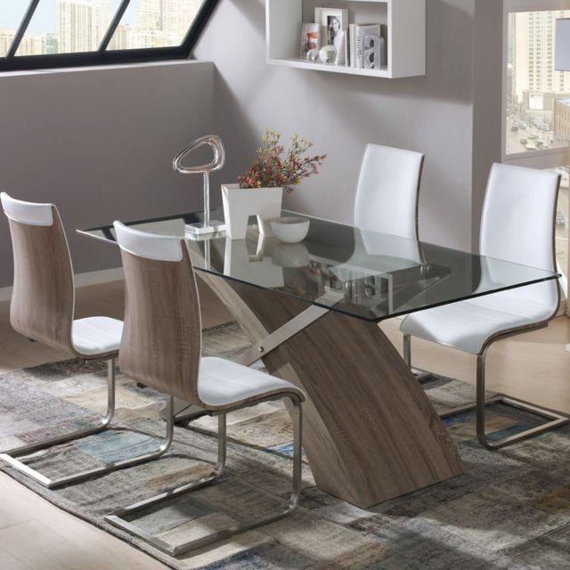 Tousmesmeubles Table de repas - Adicus - L 200 x l 100 x H 76