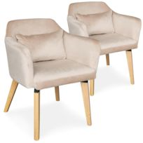 Lot de 2 chaises fauteuils scandinaves Shaggy Velours Beige