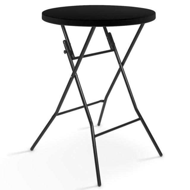 Mobeventpro Table haute de bar - Mange debout pliant noir diam. 80 cm