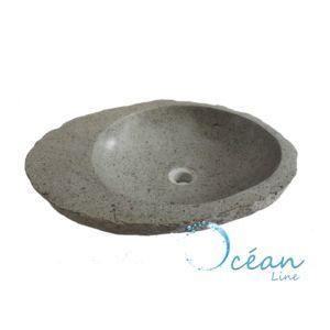 Ocean Line - Vasque de salle de bains à poser en pierre de rivière ø ... 8e306496848c