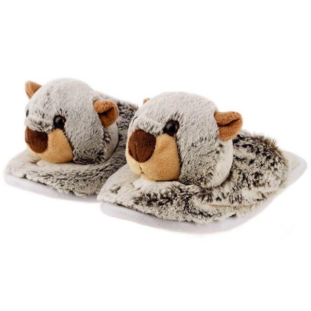 acheter de nouveaux images officielles nombreux dans la variété Chaussons Peluche Marmotte