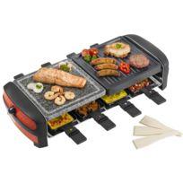 BESTRON - 3 en 1 Raclette, gril et pierre de cuisson avec 8 poêlons 1300W avec thermostat; en rouge