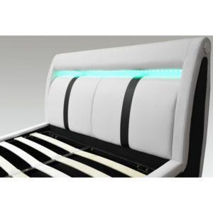 conforeva lit coffre led grandeur blanc et noir 140 x 190 cm simili cuir pas cher achat. Black Bedroom Furniture Sets. Home Design Ideas