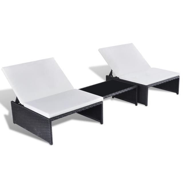 Rocambolesk Superbe Salon de jardin 2 fauteuils en polyrotin noir avec dossiers ajustables Neuf