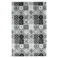 Mon Beau Tapis - Tapis motifs carreaux de ciment noir 100x60cm Toodoo