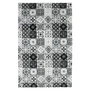 mon beau tapis tapis motifs carreaux de ciment noir 100x60cm toodoo pas cher achat vente. Black Bedroom Furniture Sets. Home Design Ideas