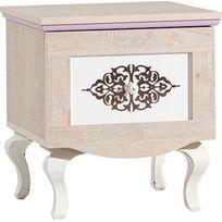 Comforium - Chevet baroque pour fille coloris bois naturel et blanc
