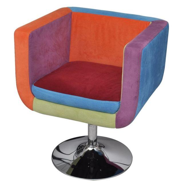 Vidaxl Fauteuil avec design de patchwork Cube Tissu | Multicolore