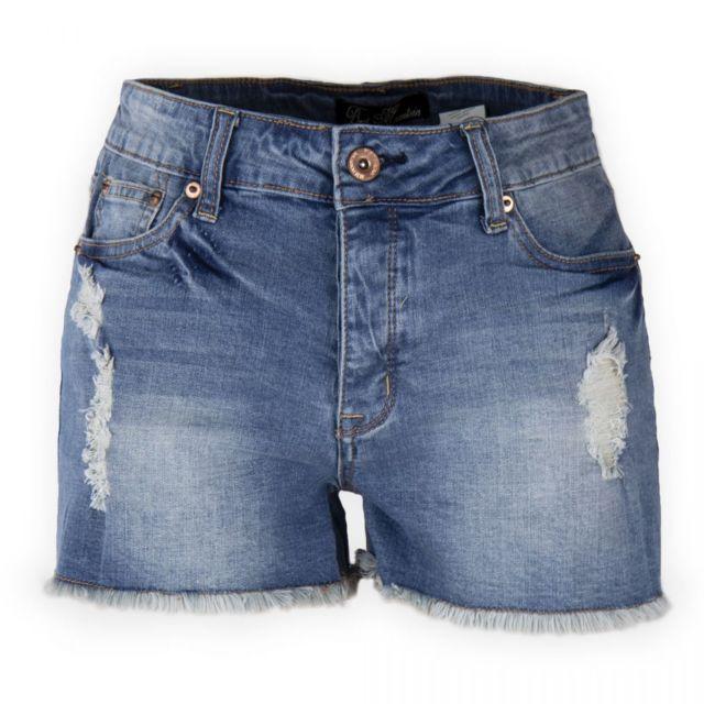 Best Mountain - Short en jean bleu délavé