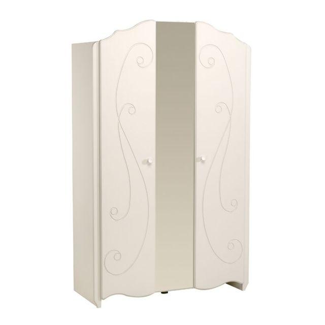 Tousmesmeubles - Armoire 2 portes battantes Blanc - Andrea 52cm x 117cm x 188cm