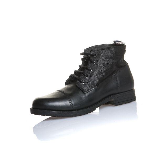 da10510506ba Jack JONES - Chaussure homme noire cuir montante - pas cher Achat ...