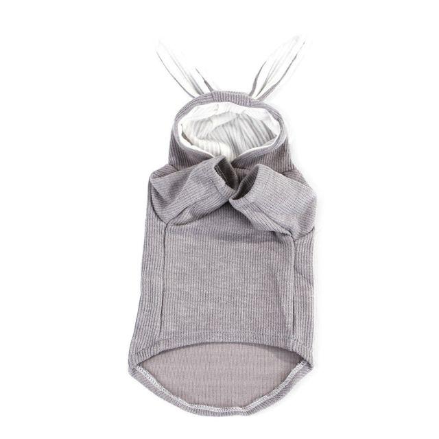 Wewoo Sweatshirt de chat de de peluche d'animal familier de mode confortable d'oreille de lapintaille L gris