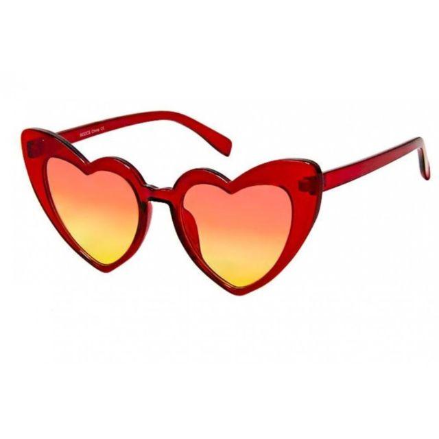 cbdd6307efb4d Universel - Lunette de soleil femme forme coeur rouge transparent pin up  rockabilly