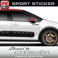 Run-R Stickers - Pw03 Na - Sticker Powered by Citroen - Noir Argent - pour C1 C2 C3 Ds3 C4 Ds4 Saxo aufkleber adesivi - Adnauto